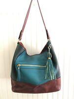 Isaac Mizrahi Green/Brown Leather Large Shoulder Bag Hobo Tassel Travel Tote