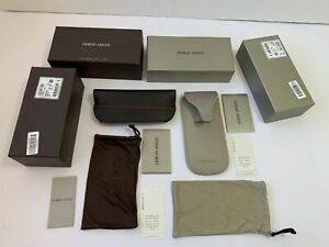LOT 2 Giorgio Armani Case Eyeglasses Suneglass Soft Pouch White + Brown Small S
