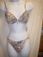 Footprints 9255/9257 Underwire 2-Piece Bikini 34D/Small Brown Print NWT