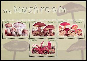 Guyana Mushrooms Stamps 2003 MNH Mushroom Boletus Fungi Nature 4v M/S