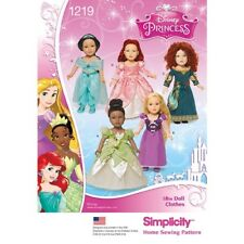 """New Simplicity pattern 1219 18"""" DOLL CLOTHES DISNEY PRINCESS Outfits FREE SHIP"""