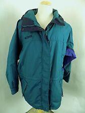 Columbia Men's Full Zip Nylon Long's Peak Jacket Sz L Large Green L/S Hood Ski