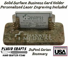 Handmade Personalized Business Card Holder /  Rosemary Corian #BCH131