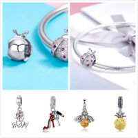 Women DIY Charms Beads Pedants .925 Sterling Silver With CZ Fit Bracelets Chain