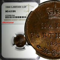 Great Britain Victoria 1844 1/2 Farthing NGC MS63 BN  Brown Toning KM# 738