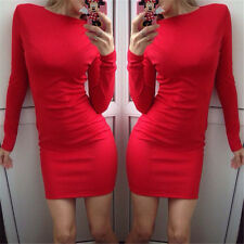 XL Red Women Long Sleeve Knit Cocktail Party Bodycon Casual Mini Dress 04