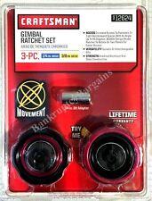 "Craftsman Pro 3 pc Aluminum Gimbal Finger Palm Drive Ratchet Kit Set 1/4"" - 3/8"""