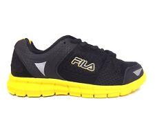 Fila Synergy Boy's Running Shoes (Little Kid/Big Kid) Black/Lemon/Dark Silver