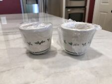 Longaberger Pottery - Christmas Holly - 2 Candle Votives - Made In The U.S.A.