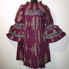 Dress Fit L XL 1X 2X 3X Plus Purple Gold Ankara Africa Wax Print Pleat NWT BR 99