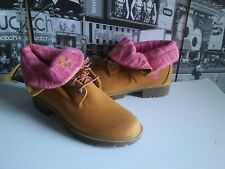 Timberland Roll Top Wheat Boots Women's Size 9 With Pink knitted top Rare Look