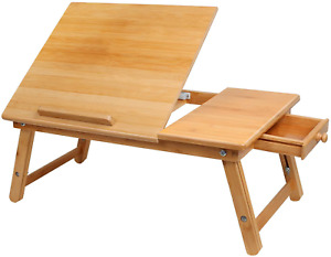 Laptop Desk Bamboo Foldable Lap Top Bed Table Serving Tray Notebook Computer &