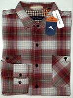 NWT $125 Tommy Bahama Red Gray Plaid Cotton Short Sleeve Shirt Mens XL XXL NEW
