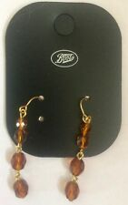 Drop Earrings Gorgeous Amber Gem Stone strand pierced earring made for Boots 99p