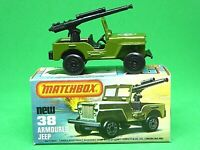 Matchbox Lesney No.38e Armoured Jeep In Type L With NEW Box (SLEET-N-SNOW BASE)