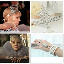 Great Gatsby 1920s Headpiece Bracelet Ring Set Flapper Crystals Bridal Headband