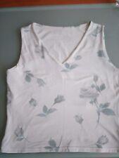 Top - Shirt Gr.36 floral weiß mit Blüten 8% Elasthan Blogger