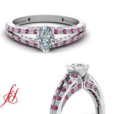 .85 Ct Oval Shaped Diamond & Pink Sapphire Engagement Ring Pave Set D-Color GIA