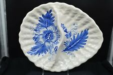 Beautiful Vintage Blue & White Floral Design Divided Pottery Platter-Italy