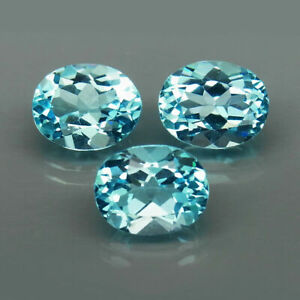 9.84 Carats Oval 3pcs 10x8mm Natural Baby Blue TOPAZ for Jewelry Setting Nice