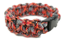 "Paracord Bracelet 550 Black Tactical 3/8"" Buckle (Lava) Hand Made"