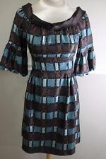 Nanette Lepore teal and brown print latnern sleeve dress size 6 (DR900