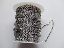1mt di CATENA in acciaio inox 4x3mm  colore argento scuro bijoux