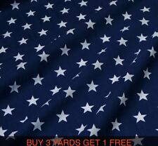 Cotton Print Navy Blue White Star Stars Dress-making Crafts Fabric Material