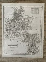 1833 OXFORDSHIRE ORIGINAL ANTIQUE COUNTY MAP BY SIDNEY HALL 186 YEARS OLD
