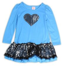 """NEW """"Aqua Sparkly Heart"""" Dress Girls 5/6 Fall Winter Clothes Outfit Holiday"""
