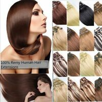 """15""""18""""20""""22""""24"""" Clip In Full Head 100% Real Remy Straight Human Hair Extensions"""