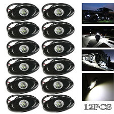 12X White 2'' 9W CREE LED Rock Light Under Body Rig Lamp Offroad Jeep Truck Boat
