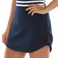 Chaps Navy Blue French Terry Skirt SKORT Drawstring Sides Womens Size L NEW $59