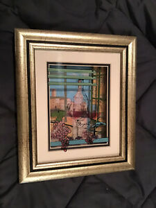 Jean-Pierre Weill 3D Burgundy Wine Grapes Painted Glass Vitreography Shadow Box
