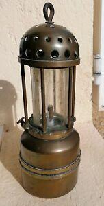 LAMPE DE MINEUR VERRE BACCARAT  MINERS LAMP Arras CARMAUX