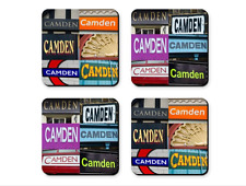 Personalized Coasters featuring the name CAMDEN in photos of signs - Set of 4