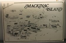 """Mackinac Island Vintage Pencil Print Graphic Large 38"""" by 25"""" Poster Art 1980"""