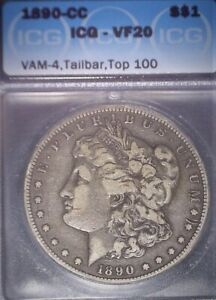 1890 CC Morgan Silver Dollar, ICG VF20, Rare Tailbar, Nice Example, Issue Free