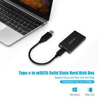 Type C to mSATA Mobile Box Adapter USB 3.1 SSD Solid State Drive Enclosure #K