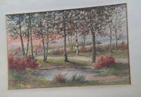 Pair 2 Original Francois Girot d.1917 Watercolor Landscape Paintings BIN OBO FS