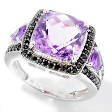 SS/ 5.40ctw African Amethyst & Black Spinel Solitaire w/ accent Ring, Size 7