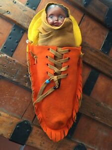 Antique 1900 Native American Indian Composition Baby Doll OrigInal Felt Papoose