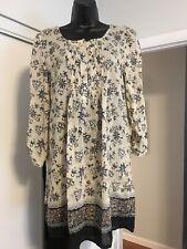 cf955e10 Zara Basic Womens Sz M Blue Gray Tan 3/4 Sleeves Pleated Dress Tunic R2