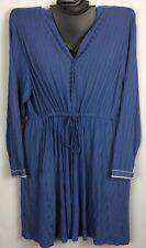 Ribbed Robe BIJOU BLUE Cacique Lane Bryant Soft Long Sleeve Drawstring New