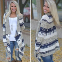 Womens Irregular Waterfall Cardigan Coat Poncho Long Sleeve Sweater Jumper Top