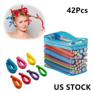 42pc Hair Curler Twist Flex Foam Perm Rods Hair Salon Blendy Roller Curls