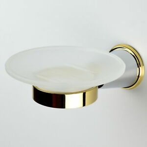 Franz Viegener 168/84CO Chess Wall-Mount Soap Dish, Polished Chrome & Gold