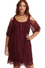 Burgundy Plus Size Lace Cold Shoulder Trapeze Dress Size 16-26