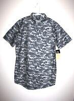 NEW Boys ART CLASS Gray Camo Camouflage Short Sleeve Button Down Shirt XL 16 NWT