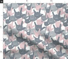 New listing Pink Hands I Love You Asl American Sign Language Spoonflower Fabric by the Yard